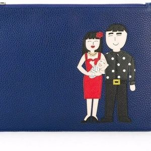 DOLCE GABBANA DG FAMILY PATCH LEATHER POUCH CLUTCH